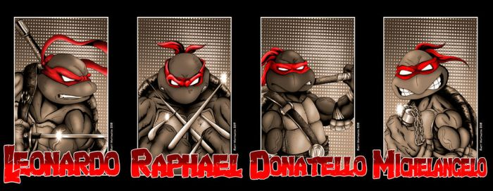 all 4 turtle portraits Comic Style by whittingtonrhett