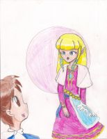 Zelda Blowing a Bubble by LilacPhoenix
