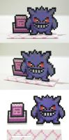 Perler Bead Gengar with Pokemon Tower Stand by NerdyNoodleLabs