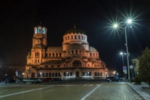 Alexander-Newski-Cathedral at night by LunaFeles