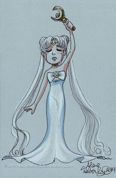Queen Serenity Sketch Card by alex-heberling