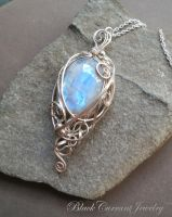 Large Blue Moonstone and Sterling Silver Pendant by blackcurrantjewelry