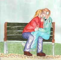 Kiss on a bench by SweetlyMilky