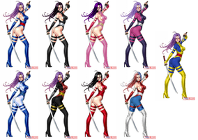 Psylocke - Alternate costumes by kamionero