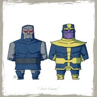 Little Friends - Darkseid and Thanos by darrenrawlings