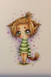 Coloring a little Drawing of a Cute Kitty Girl by NunoRaposeiro