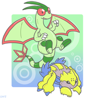 Goofy Flygon and Galvantula