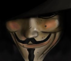 V for Vendetta Close Up by BABAGANOOSH99