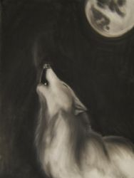 Wolf and the moon by MasterGunyer