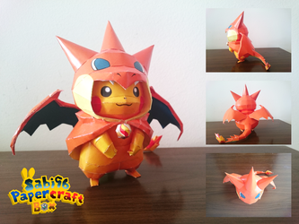 Pikachu (Charizard Costume) Papercraft + DOWNLOAD by Sabi996