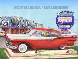 1957 Ford Fairlane At The Stardust Casino In Vegas by FastLaneIllustration