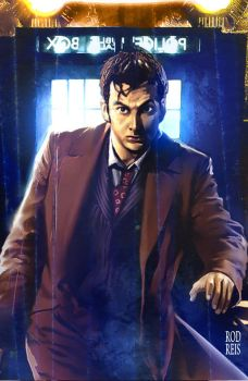 10th Doctor Who in Tardis by RodReis