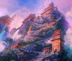 mountain temple by madtom86