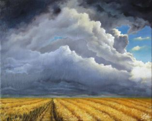 Clouds and field 40X50 Oil. FOR SALE by Guderna