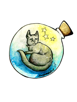 Cinderpelt in a magic star bottle by cune-roos