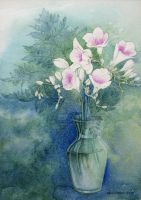 Orchids in glass vase by DavidOReilly