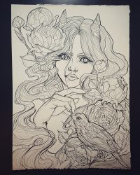 Girl with peonies by Albi777