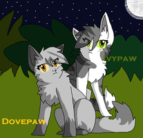Dovepaw and Ivypaw by Cinderfire1234
