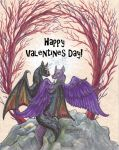 Happy Valentines Day! Winged Wolves Love Tree Rock by StephanieSmall