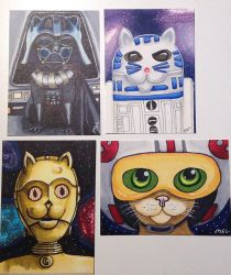 Star Wars Cats - R2D2 C3P0 Darth Vader Luke Pilot by Purple-Pencil