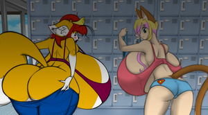 Stel and Gigi in the Locker Room (Colored) by Matthew250