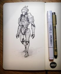 INKtober 02: Robot Dude by rickystinger88