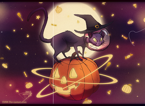 Space Witch Cat Riding a Pumpkin and Glowy Things by DJ88