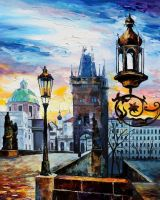 EVENING IN PRAGUE by Leonid Afremov by Leonidafremov