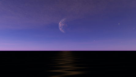 Earth Twin Moon Over Black Water by SilverWolf738