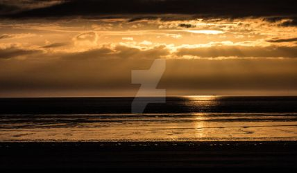 Western Super Mare Beach Golden Sunset by photographybypixie