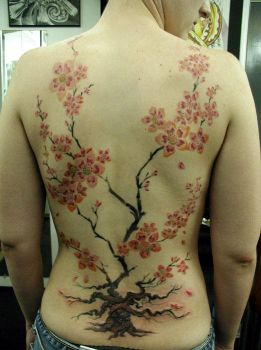 Cherry Blossom Back piece by GlassBeetle