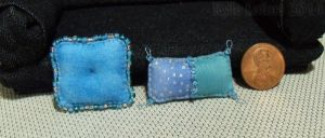 Miniature Blue Beaded Pillows by Kyle-Lefort