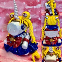 Sailor Moon Unicorn Polymer Clay Figure by ColorfulCupcakez