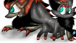 Zorua and Zoroark by PlagueDogs123