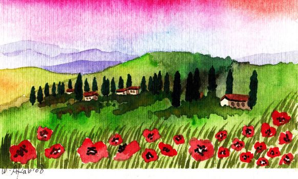 Poppies and cypress trees by WasfiAkab