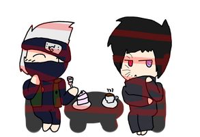 Kakashi and Obito in a Cafe' by IToastedAToaster