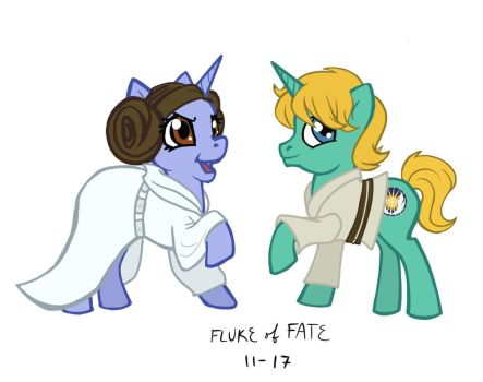 Leia and Luke Ponies by FlukeOfFate