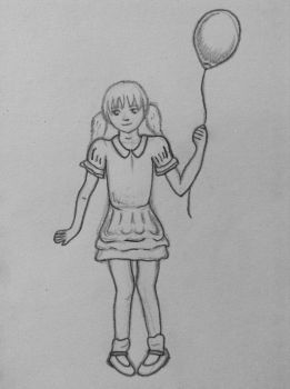 A little girl and a balloon.  by rocklovingwolf100