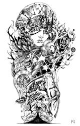 Death and time tattoo design by Kaos-Nest
