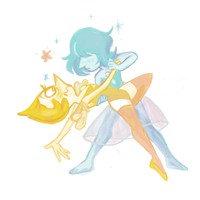 yellow and blue by paperfaery