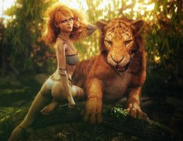 Red Haired Jungle Woman + Tiger, Fantasy Art by shibashake