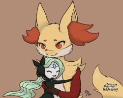 Delphox and Meloetta (Request) by Turritopsis-dohrNii