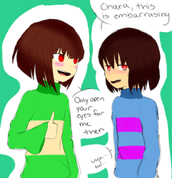 Undertale - Open Your Eyes Frisk (Frisk and Chara) by ArtisticAnimal101