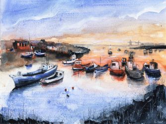 Fishing village - Watercolor - Original for sale by nicolasjolly
