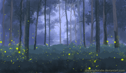 Fireflies in the forest by DreamyNatalie