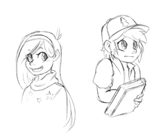 Quick Doodle - Mabel + Dipper by FuyusFox