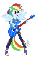 MLP EG - Rainbow Dash playing guitar by ilaria122