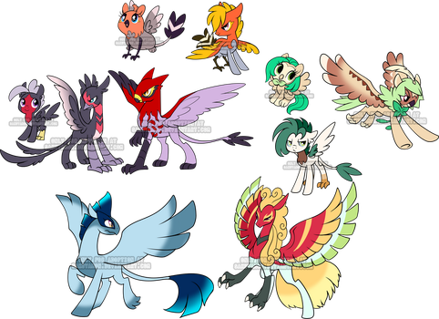 Pokepony Griffin n Hippogriff adoptables by Sakuyamon