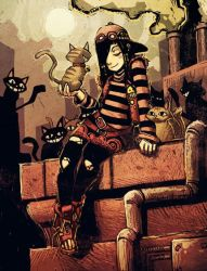 Humankind - Anita and cats by GENZOMAN