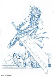 cloud and sephiroth sketch by deemonproductions